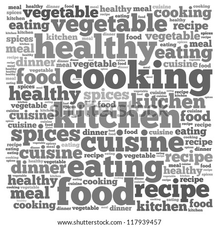Cooking info-text graphics and arrangement concept on white background (word cloud) - stock photo
