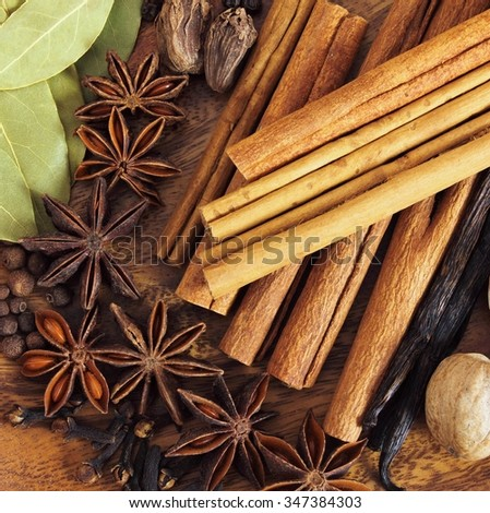 Cooking ingredients: vanilla, cinnamon sticks, clove and star anise. - stock photo