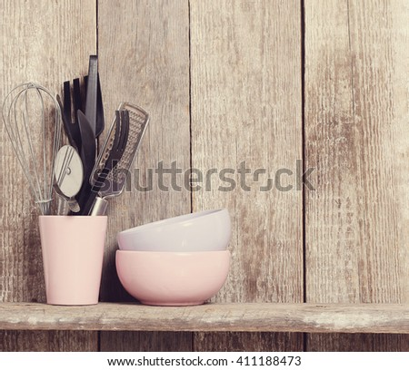 Cooking. Kitchen utensil on the table - stock photo