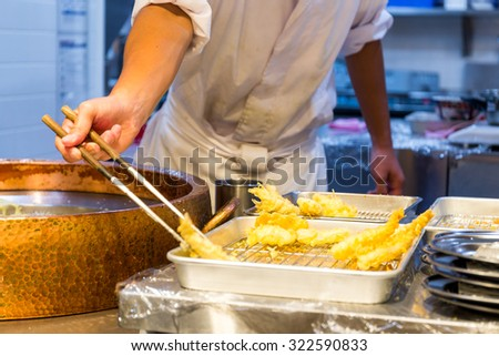 Cooking of tempura - stock photo