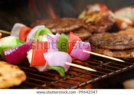 Cooking on the bbq - stock photo