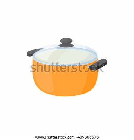 Cooking pan with glass lid icon, cartoon style - stock photo