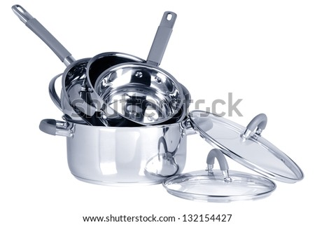 Cooking pots. Isolated - stock photo