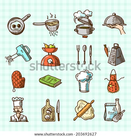 Cooking process delicious food sketch colored icons set isolated on squared background  illustration - stock photo