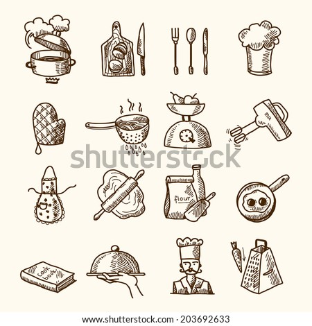 Cooking process delicious food sketch icons set isolated  illustration - stock photo