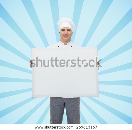 cooking, profession, advertisement and people concept - happy male chef cook holding and showing white blank big board over blue burst rays background - stock photo