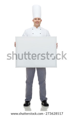 cooking, profession, advertisement and people concept - happy male chef cook holding and showing white blank big board - stock photo