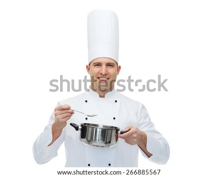 cooking, profession and people concept - happy male chef cook with pot and spoon - stock photo