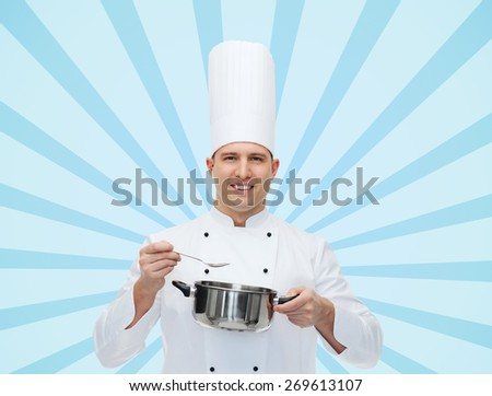 cooking, profession and people concept - happy male chef cook with pot and spoon over blue burst rays background - stock photo