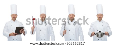 cooking, profession, culinary and people concept - happy male chef cook set with kitchen utensils ant tablet pc computer - stock photo