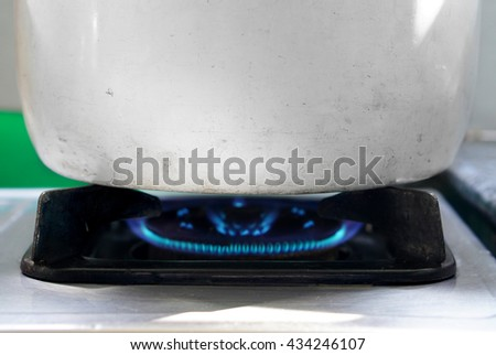 Cooking steamed food by steamed pot , water inside pot will boiling then heat food  - stock photo