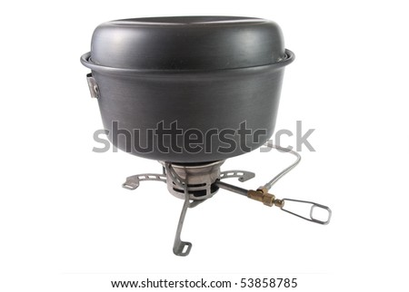 cooking stove with a pot on it - stock photo