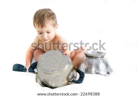 cooking toddler over white - stock photo