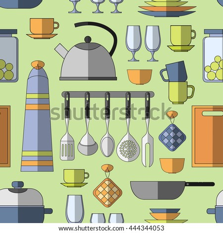 Cooking tools pattern. Hand-drawn design elements. illustration with items for cook. - stock photo