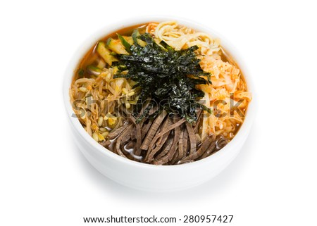 Cooksey - a Korean national dish of thin noodles, broth, with the addition of a variety of cooked vegetables and meat. From a series of Food Korean cuisine. - stock photo