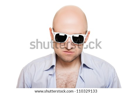 Cool bald or shaved head man in sunglasses white isolated - stock photo
