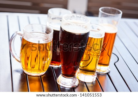 Cool beer mugs - stock photo