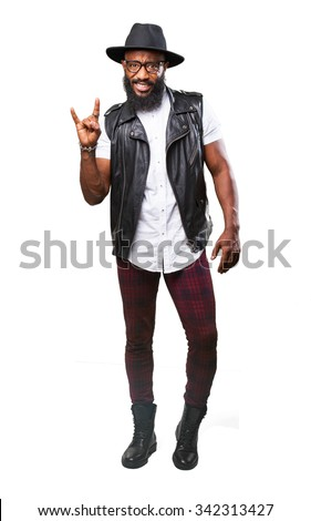 cool black man doing a rock gesture - stock photo