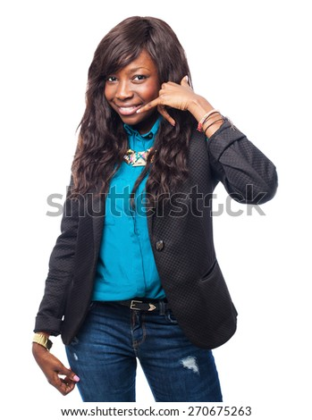 cool black-woman calling sign - stock photo