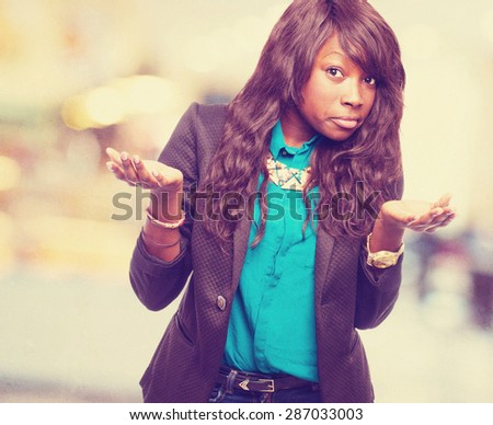 cool black-woman doubting - stock photo