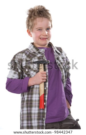 cool boy with hammer - stock photo