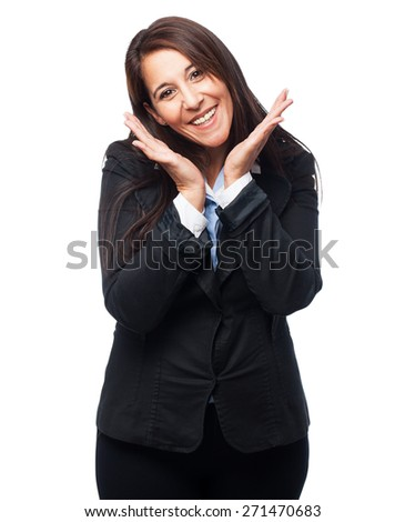 cool business-woman smiling - stock photo