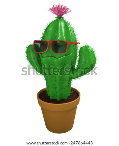 Cool cactus man houseplant with trendy sunglasses and a big grin - stock photo