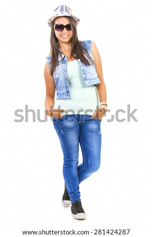 Cool casual teenage girl jumping on white background - stock photo