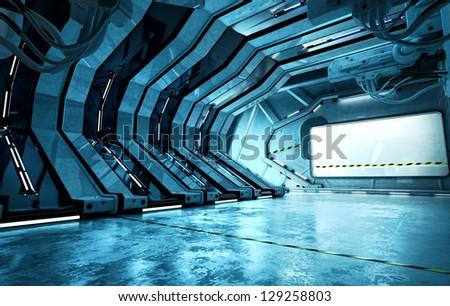 Cool corridor in spaceship. 3d render / Futuristic hall - stock photo