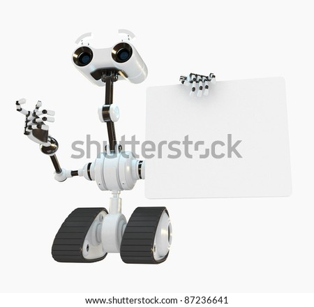 Cool cyborg robot shows on the empty board - stock photo
