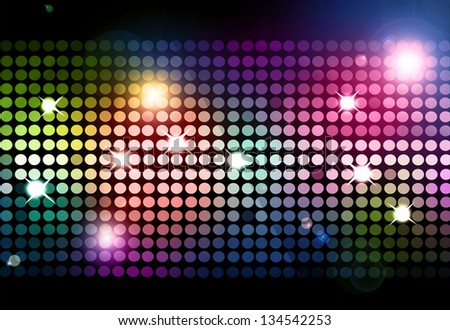 Cool disco background with colorful lights - stock photo