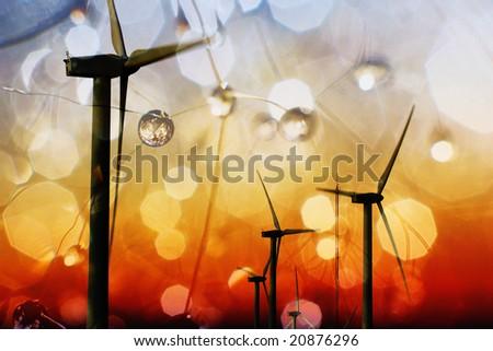 Cool energy. Alternative energy concept. Wind and solar energy - stock photo