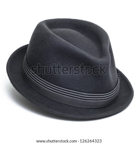Cool grey, felt trilby/fedora hat isolated on a white background. - stock photo