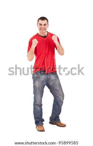 Cool hip hop girl dancer doing a pose isolated in white - stock photo
