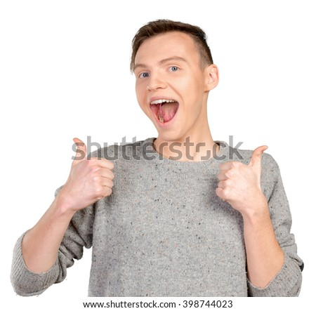 cool man doing an okay gesture - stock photo