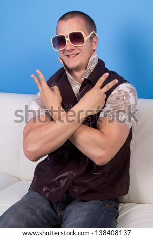 cool man in retro clothes - stock photo