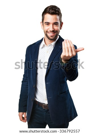 cool man inviting to come - stock photo