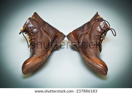 cool men's leather shoes handmade. old school shoes top view. Vintage style - stock photo