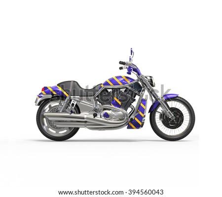 Cool purple heavy bike with yellow stripes - stock photo
