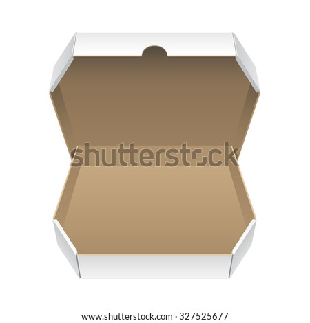 Cool Realistic White Opened Package. Cardboard Box for pizza. isolated on white background. - stock photo