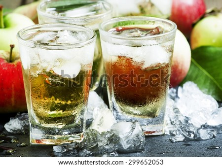 Cool refreshing apple juice with ice and fruit, selective focus - stock photo