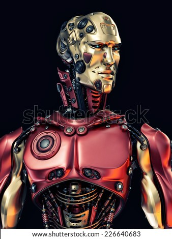 Cool robot upper body with golden face / Stylish cyborg with gold mask - stock photo