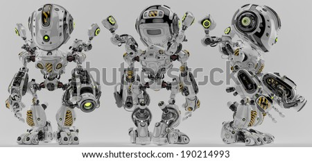 Cool robotic warrior / Armed futuristic soldier 3d render - stock photo