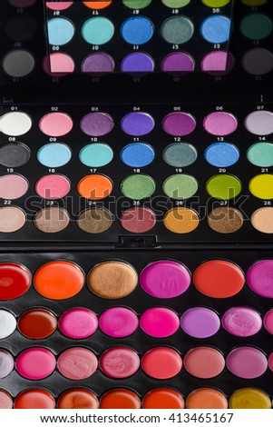 Cool set of various kinds of palettes for lips and eyes. Salons' beauty equipment. Professional make-up for special dates. - stock photo
