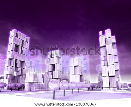 Cool skyscraper city as violet colored wallpaper illustration - stock photo