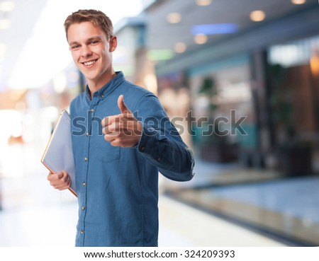cool student-man notebook - stock photo
