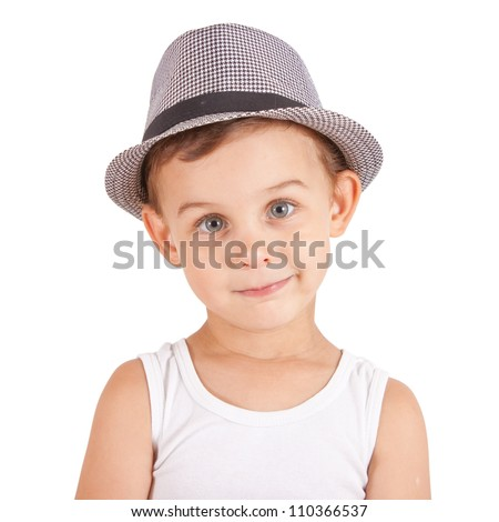 Cool stylish little boy in a hat. Isolated on white background. Clipping paths included. - stock photo