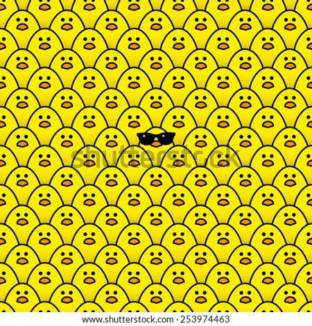 Cool Yellow Chick wearing Sunglasses surrounded by many identical Yellow chicks Staring at camera - Raster - stock photo