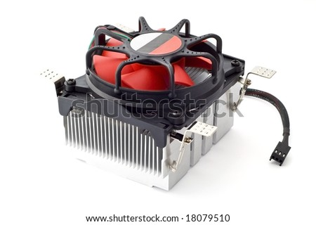 Cooling is the basis of a stable processor - the fan with radiator on white background. - stock photo