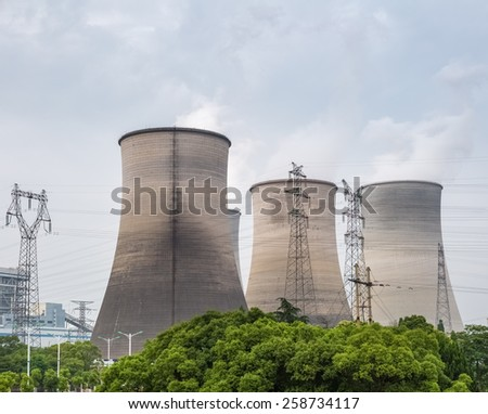 cooling tower closeup in a power plant - stock photo